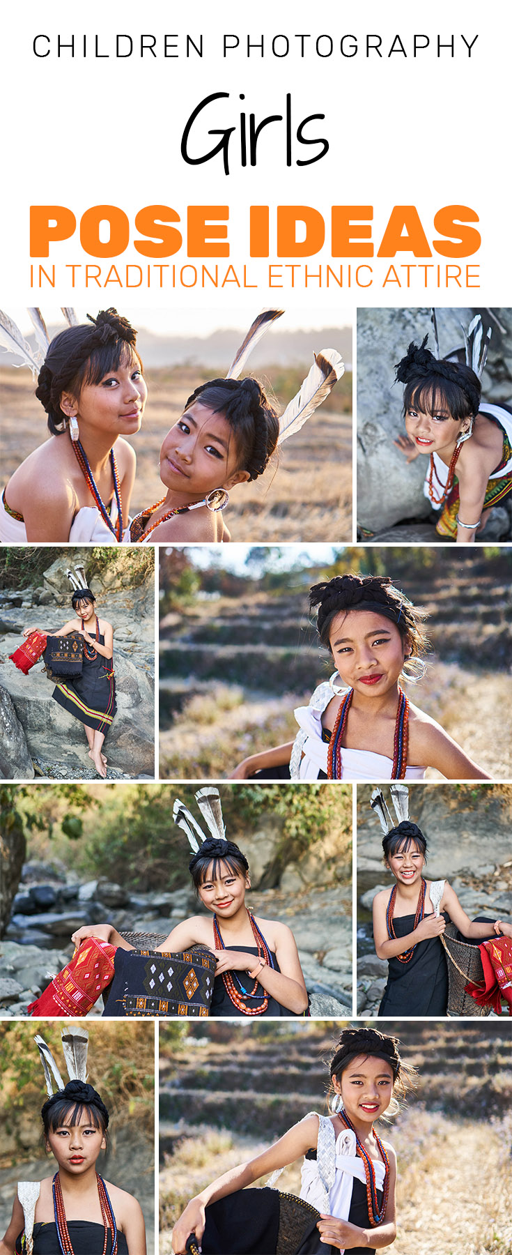 Ideas for Children Photography - Girls Pose ideas in traditional ethnic attire with props.