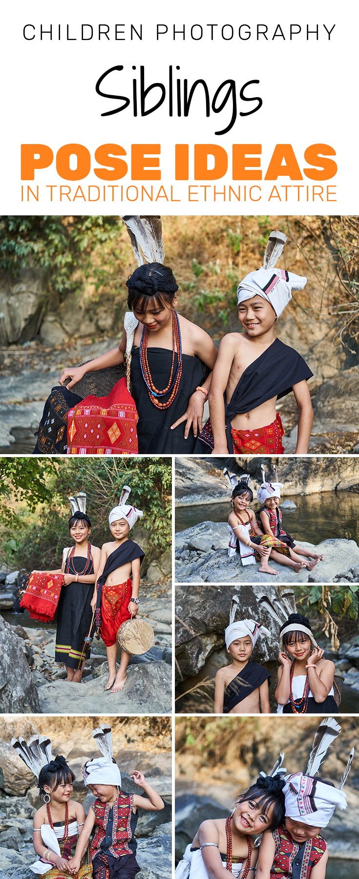 Ideas for Children Photography - Siblings Pose ideas in traditional ethnic attire with props.